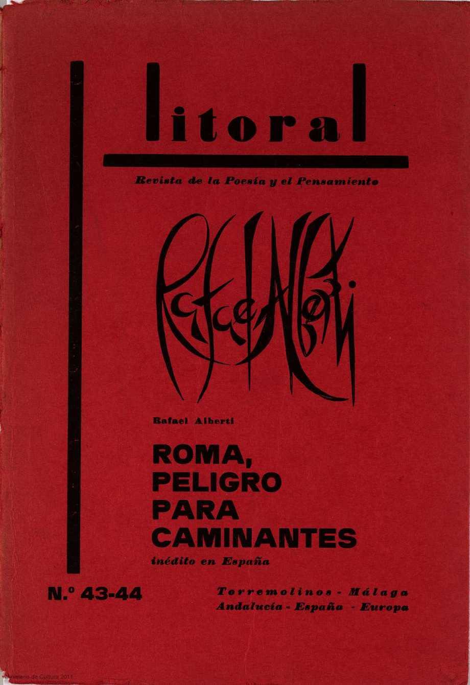Alberti Roma, peligro para caminantes en la revista Litoral 1974