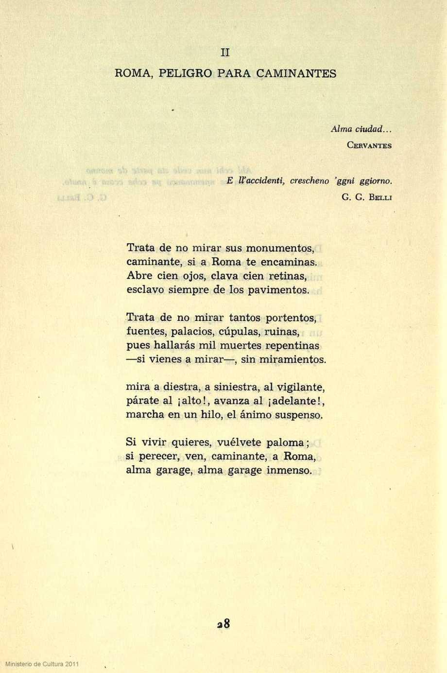 Alberti soneto Roma, peligro para caminantes