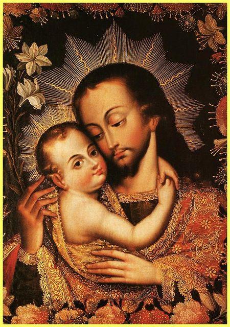 San José y el Niño. Pintura cuzqueña (de aciprensa.com)