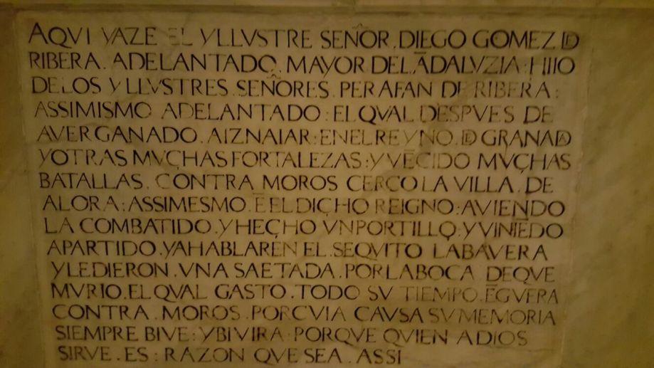 Diego Gómez de Ribera el Adelantado del romance de Álora inscripción.jpg