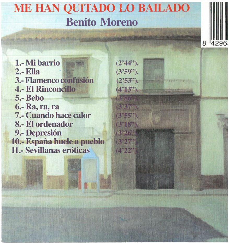 Benito Moreno Me han quitado lo bailado (10) DISQUETERA CARA B CONTRAPORTADA