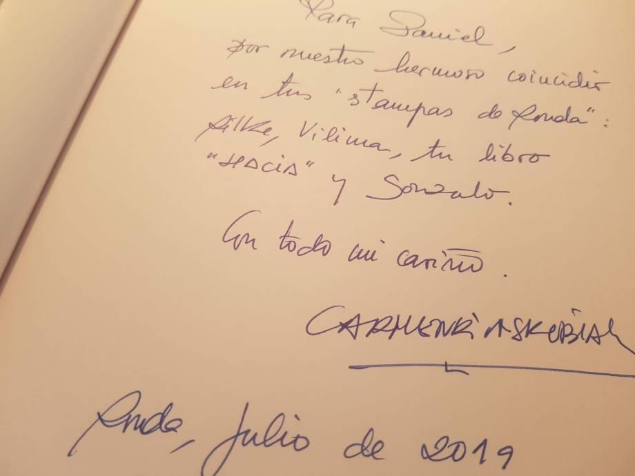 Dedicatoria de Carmen Rivas Rilke Ronda